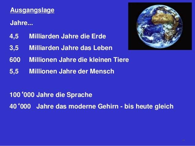 Ausgangslage 4,5 Milliarden Jahre die Erde 3,5 Milliarden Jahre das Leben 600 Millionen Jahre die kleinen Tiere 5,5 Millio...