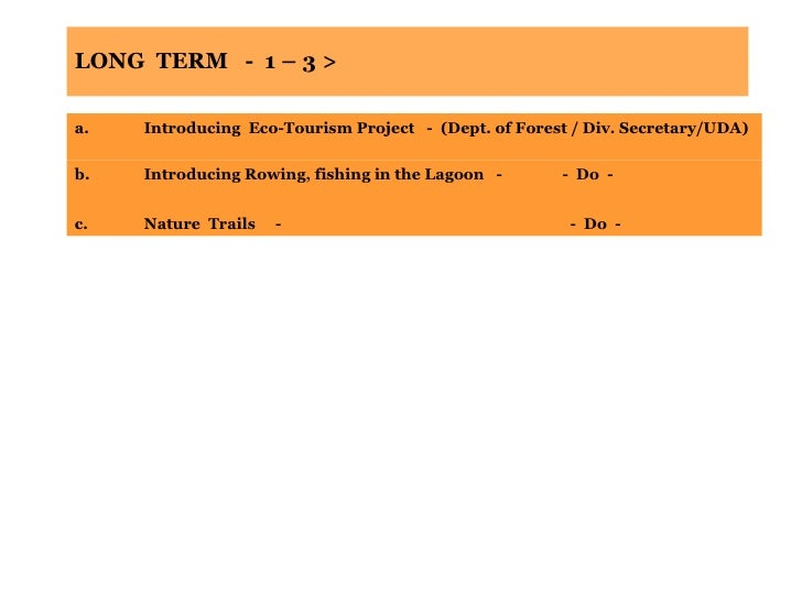 LONG  TERM  -  1 – 3 > a. Introducing  Eco-Tourism Project  -  (Dept. of Forest / Div. Secretary/UDA) b. Introducing Rowin...