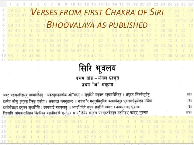 VERSES FROM FIRST CHAKRA OF SIRI BHOOVALAYA AS PUBLISHED