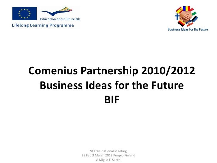 Comenius Partnership 2010/2012  Business Ideas for the Future              BIF              VI Transnational Meeting      ...