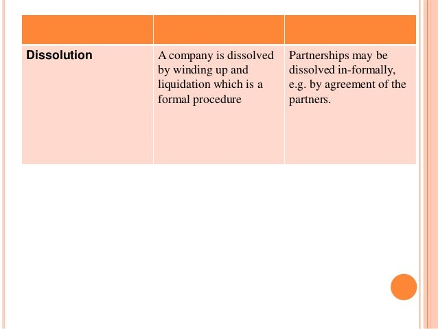 Dissolution   A company is dissolved   Partnerships may be              by winding up and        dissolved in-formally,   ...