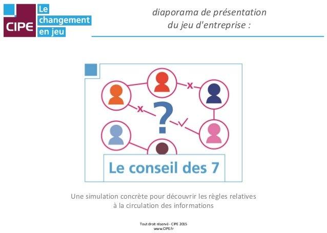 Tout droit réservé - CIPE 2015 www.CIPE.fr diaporama de présentation du jeu d'entreprise : Une simulation concrète pour dé...