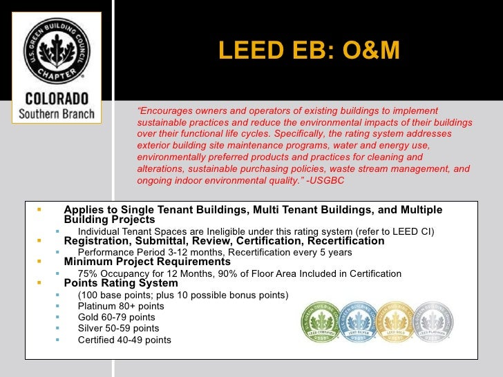 Leed ebom 101 for Leed for homes rating system