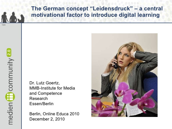 """The German concept """"Leidensdruck"""" – a central motivational factor to introduce digital learning Dr. Lutz Goertz,  MMB-Inst..."""