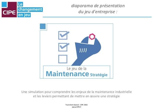 Tout droit réservé - CIPE 2015 www.CIPE.fr diaporama de présentation du jeu d'entreprise : Une simulation pour comprendre ...