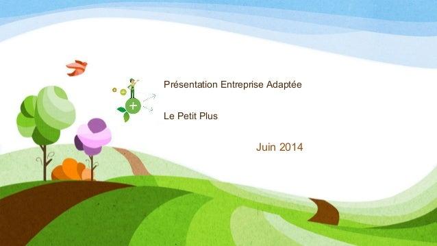 Juin 2014 Présentation Entreprise Adaptée Le Petit Plus