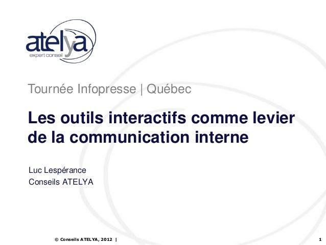 Tournée Infopresse | QuébecLes outils interactifs comme levierde la communication interneLuc LespéranceConseils ATELYA    ...