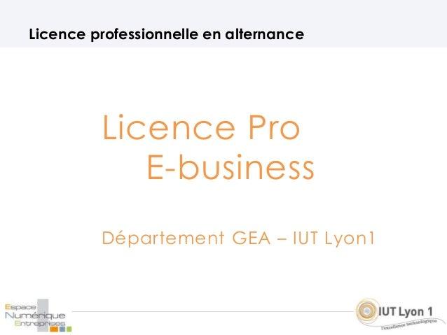 Licence Pro E-business Département GEA – IUT Lyon1 Licence professionnelle en alternance
