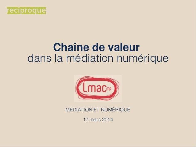 Chaîne de valeur dans la médiation numérique MEDIATION ET NUMÉRIQUE 17 mars 2014