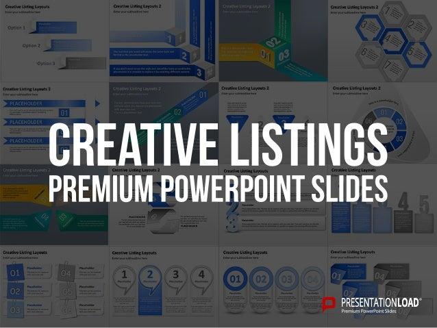 creative listing ppt slide template
