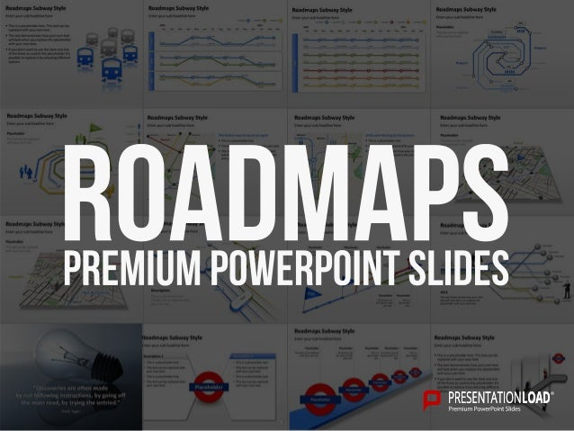 Subway Style PPT Slide Templates – Roadmap Template Free