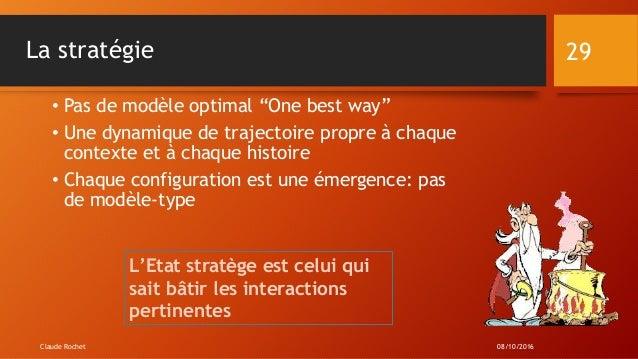 """La stratégie • Pas de modèle optimal """"One best way"""" • Une dynamique de trajectoire propre à chaque contexte et à chaque hi..."""