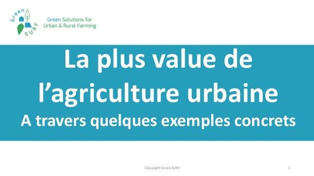1 La plus value de l'agriculture urbaine A travers quelques exemples concrets Copyright Green SURF