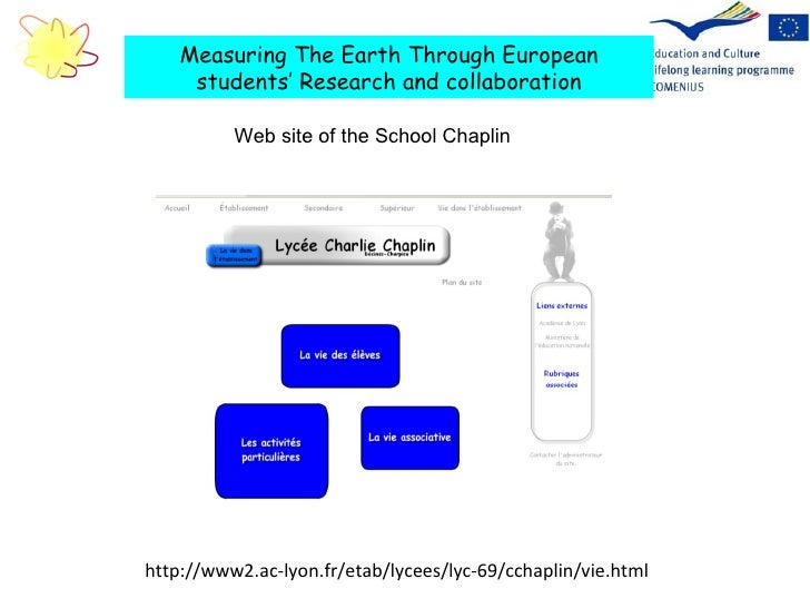http://www2.ac-lyon.fr/etab/lycees/lyc-69/cchaplin/vie.html Measuring The Earth Through European students' Research and co...