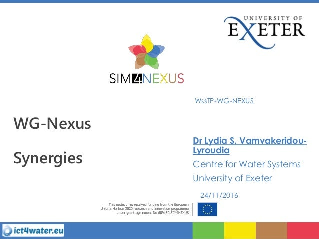 WG-Nexus Synergies WssTP-WG-NEXUS Dr Lydia S. Vamvakeridou- Lyroudia Centre for Water Systems University of Exeter 24/11/2...