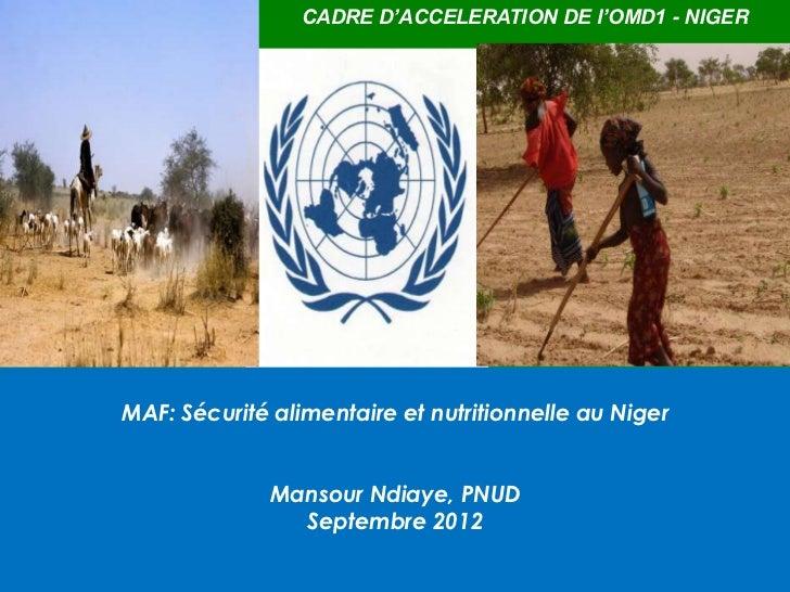 CADRE D'ACCELERATION DE l'OMD1 - NIGERMAF: Sécurité alimentaire et nutritionnelle au Niger              Mansour Ndiaye, PN...