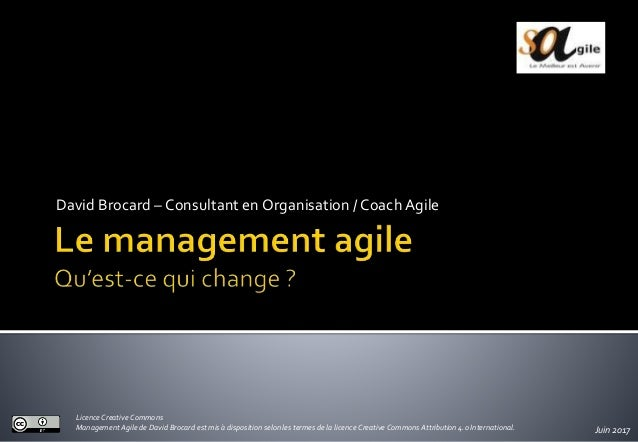 David Brocard – Consultant en Organisation /CoachAgile Juin 2017 Licence Creative Commons Management Agile de David Brocar...
