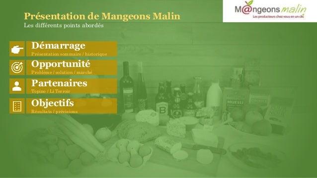 Présentation de Mangeons Malin Les différents points abordés Démarrage Présentation sommaire / historique Opportunité Prob...