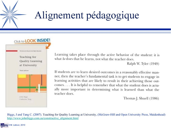Alignement pédagogique © M. Lebrun, 2010 Biggs, J and Tang C. (2007).  Teaching for Quality Learning at University , (McGr...