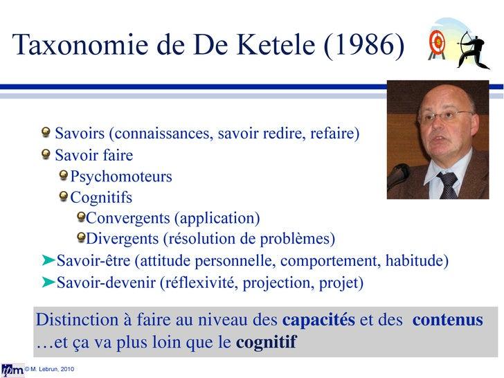 Taxonomie de De Ketele (1986) <ul><li>Savoirs  (connaissances, savoir redire, refaire) </li></ul><ul><li>Savoir faire </li...
