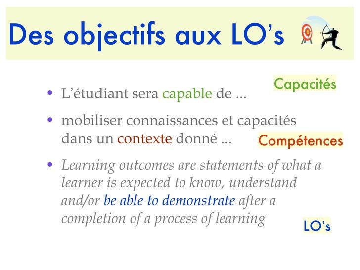 Des objectifs aux LO ' s <ul><li>L ' étudiant sera  capable  de ... </li></ul><ul><li>mobiliser connaissances et capacités...