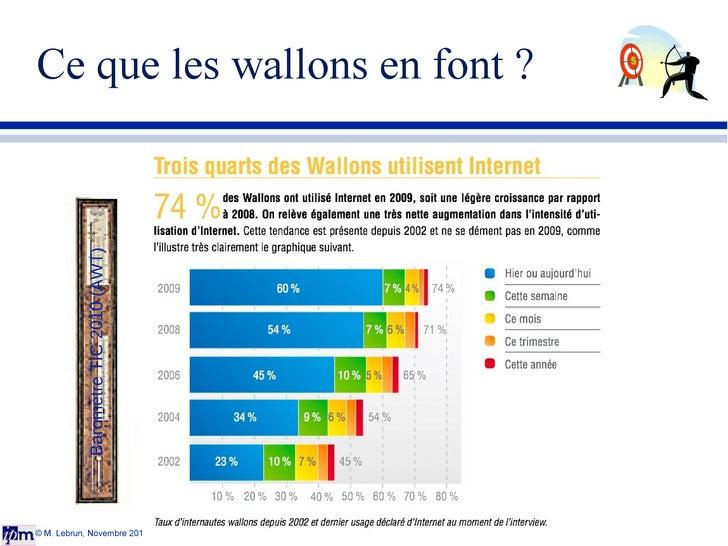 Ce que les wallons en font ? © M. Lebrun, Novembre 2011 Baromètre TIC 2010 (AWT)