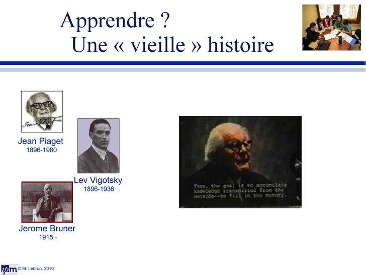 Apprendre ?    Une «vieille» histoire © M. Lebrun, 2010 Jean Piaget 1896-1980 Lev Vigotsky 1896-1936 Jerome Bruner 1915 -