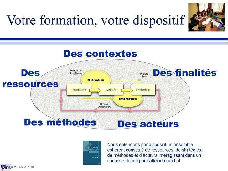 Votre formation, votre dispositif © M. Lebrun, 2010 Des ressources Des contextes Des acteurs Des finalités Des méthodes No...