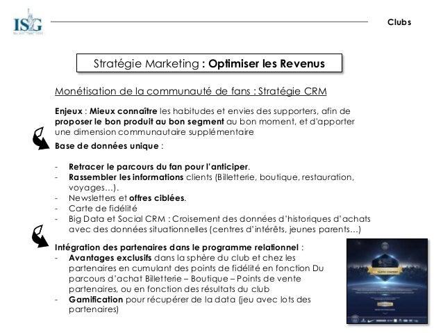 Stratégie Marketing : Optimiser les Revenus Clubs Monétisation de la communauté de fans : Stratégie CRM Enjeux : Mieux con...