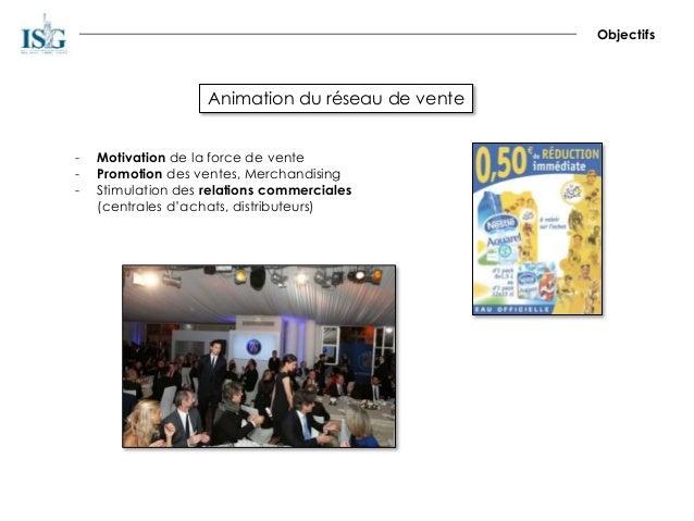Animation du réseau de vente Objectifs - Motivation de la force de vente - Promotion des ventes, Merchandising - Stimulati...