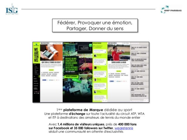1ère plateforme de Marque dédiée au sport Une plateforme d'échange sur toute l'actualité du circuit ATP, WTA et ITF à dest...