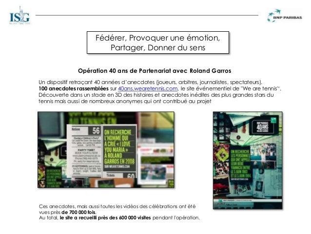 Fédérer, Provoquer une émotion, Partager, Donner du sens Opération 40 ans de Partenariat avec Roland Garros Un dispositif ...