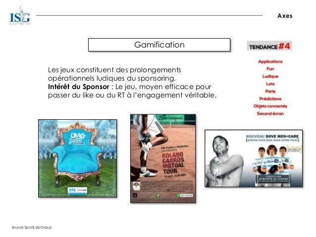 Gamification Axes Source SportLab Group Les jeux constituent des prolongements opérationnels ludiques du sponsoring. Intér...