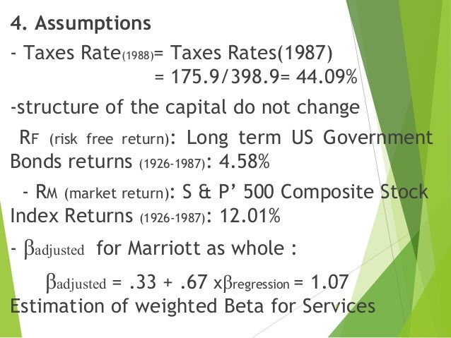 marriott corporation the cost of capital case study solution Marriott corporation the cost of capital 1 wacc for marriott 1 t kd d v ke e v tax rate is 34  d 060 from table a as a target value and e 040 v 1 cost.