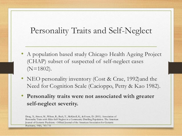 Mental Health & Well Being of Older People : Self Neglect