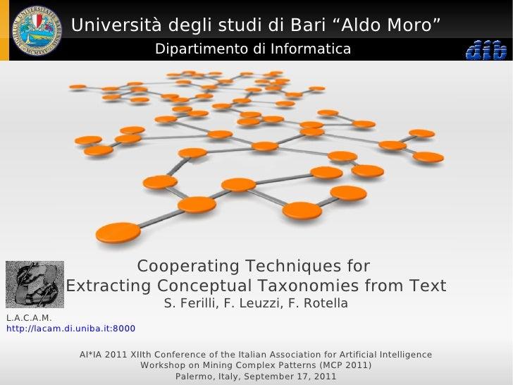 """Università degli studi di Bari """"Aldo Moro""""                                 Dipartimento di Informatica                    ..."""