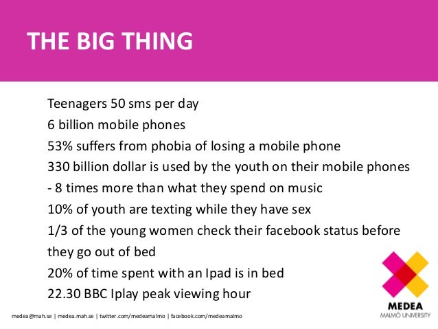 THE BIG THING            Teenagers 50 sms per day            6 billion mobile phones            53% suffers from phobia of...