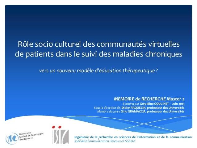 Rôle socio culturel des communautés virtuelles de patients dans le suivi des maladies chroniques vers un nouveau modèle d'...