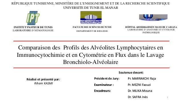 Comparaison des Profils des Alvéolites Lymphocytaires en Immunocytochimie et en Cytométrie en Flux dans le Lavage Bronchio...