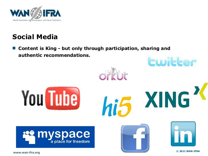 Social Media! Content is King - but only through participation, sharing and  authentic recommendations.                   ...