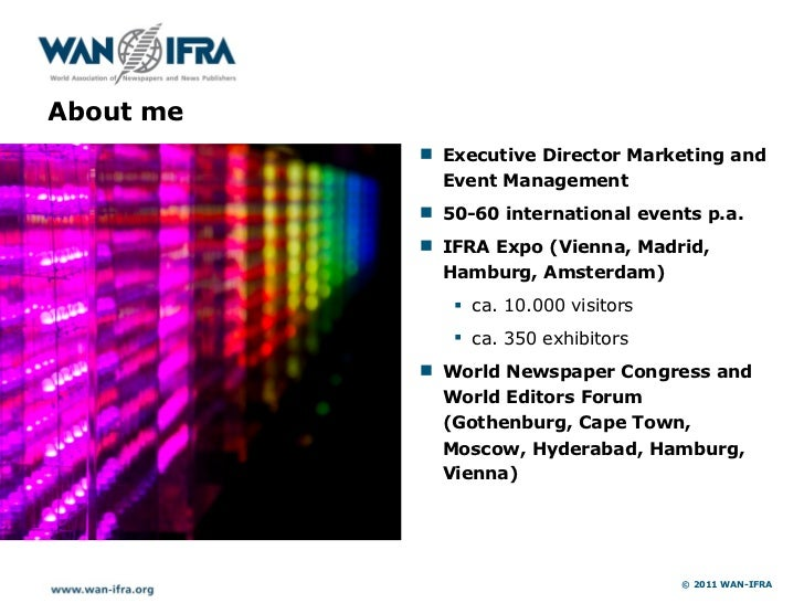 About me           ! Executive Director Marketing and             Event Management           ! 50-60 international events ...
