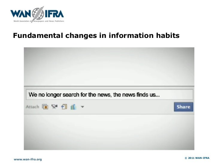 Fundamental changes in information habits                                            © 2011 WAN-IFRA