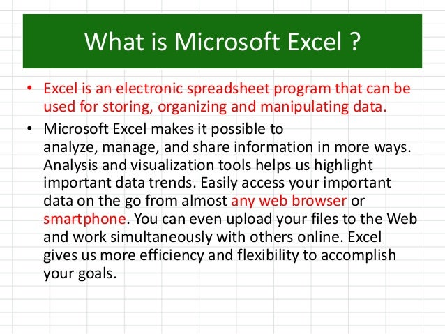 describe the benefits of using microsoft access in the work environment Microsoft office is the world's best and famous work program for studying, personal use, and office work microsoft office includes access, excel, outlook, power point, publisher and word i will be including word, excel and power point in my paper.