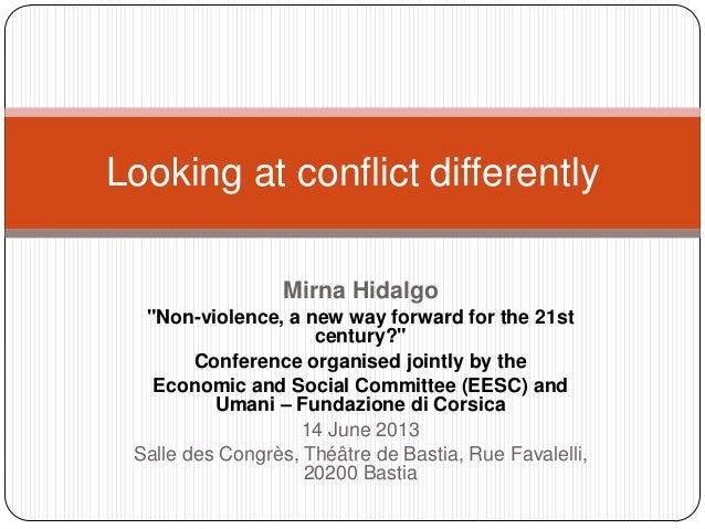"Mirna Hidalgo ""Non-violence, a new way forward for the 21st century?"" Conference organised jointly by the Economic and Soc..."