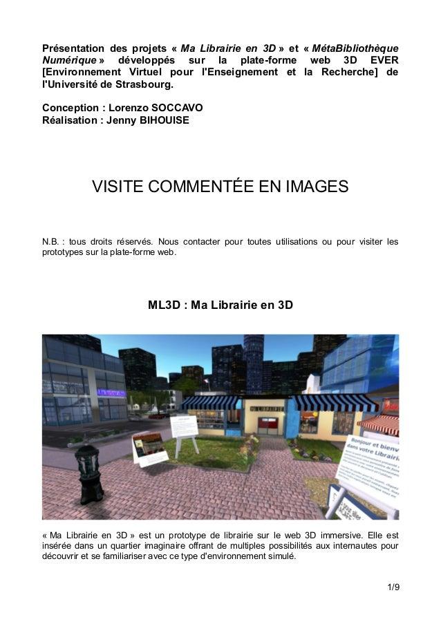 Présentation des projets « Ma Librairie en 3D » et « MétaBibliothèque Numérique » développés sur la plate-forme web 3D EVE...