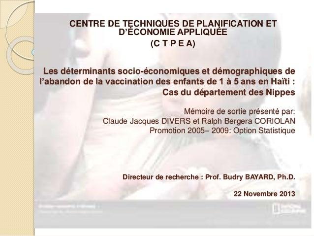 Les déterminants socio-économiques et démographiques de l'abandon de la vaccination des enfants de 1 à 5 ans en Haïti : Ca...