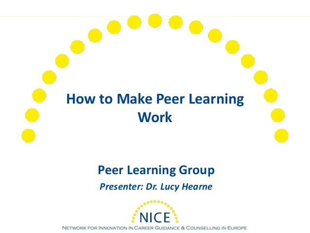 How to Make Peer Learning Work Peer Learning Group Presenter: Dr. Lucy Hearne