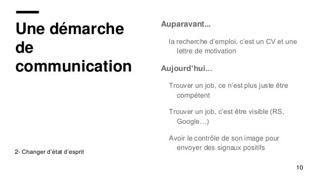 3a7df6f6714 ... 10. Une démarche de communication Auparavant... la recherche d emploi  ...