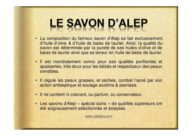 La composition du fameux savon d'Alep se fait exclusivementd'huile d'olive & d'huile de baies de laurier. Ainsi, la qualit...