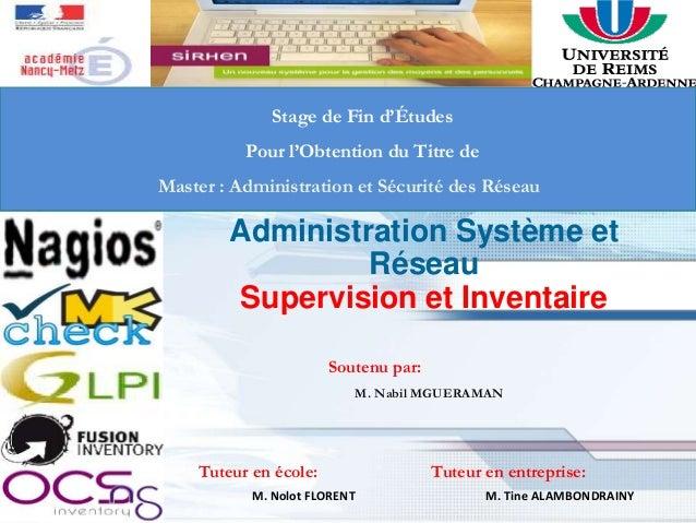 1 Stage de Fin d'Études Pour l'Obtention du Titre de Master : Administration et Sécurité des Réseau Administration Système...